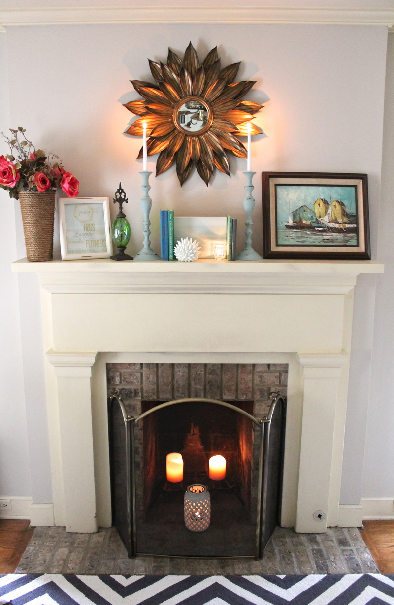 spring mantel, mantel decorating,