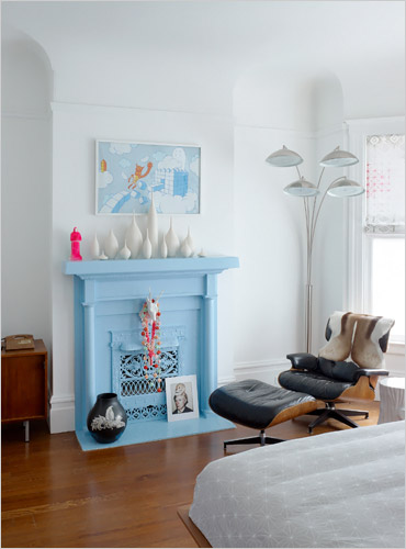 painted fireplace, light blue fireplace, the best painted fireplaces
