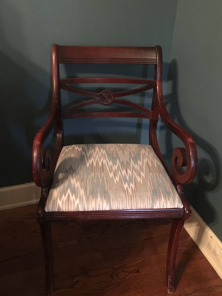 Before & After - Painted Armchair, painted furniture, red chair, painted chair,