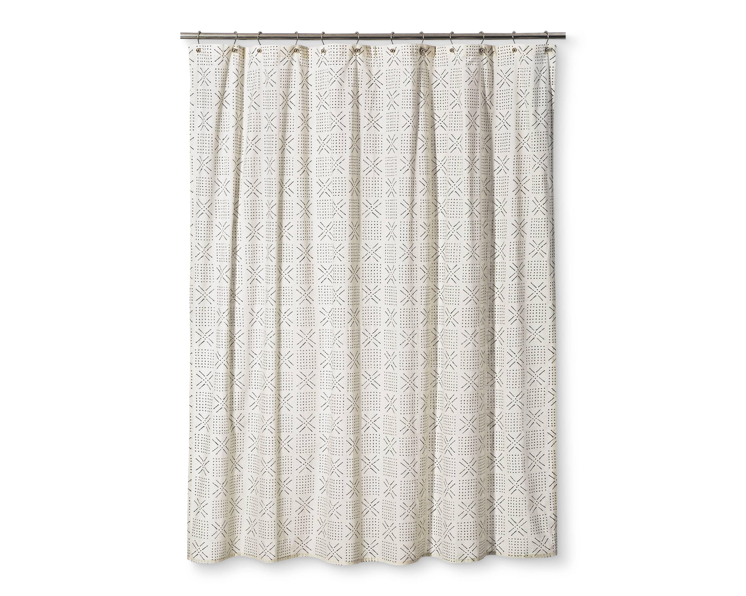 threshold shapes sour cream shower curtain